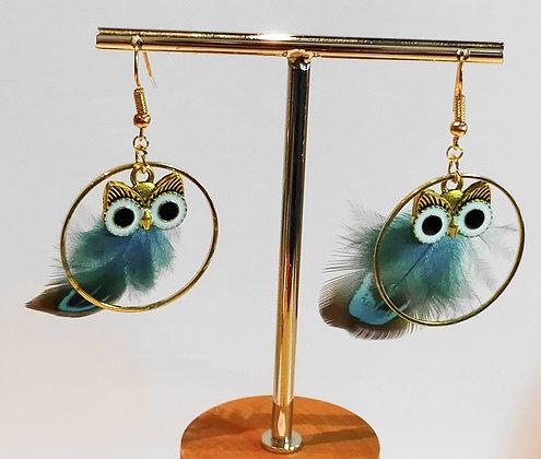 Boucles d'oreilles hibou plume