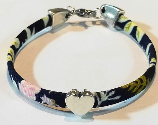 Bracelet enfant liberty noir/cœur