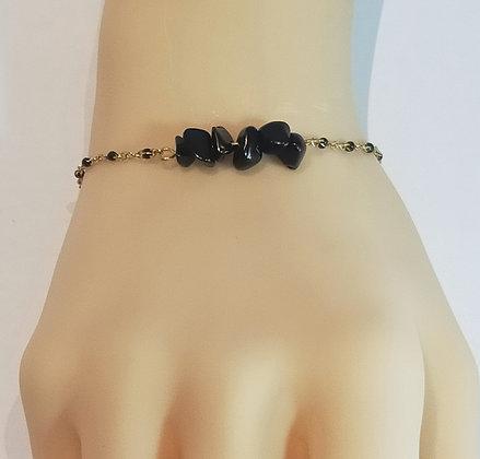 Bracelet doré/noir agate noire