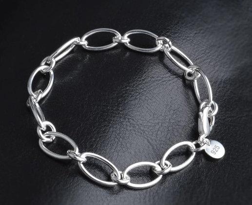 Bracelet en argent avec anneaux ovales, chaîne épaisse