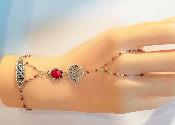 Bracelet-bague argenté/rouge/arbre de vie