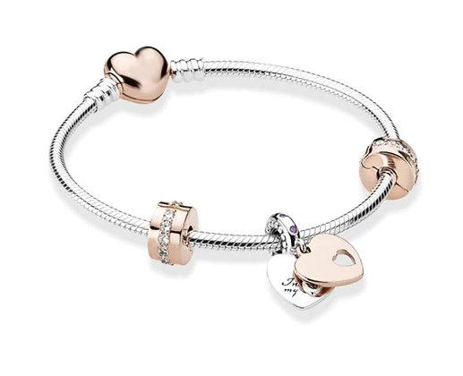 Bracelet argent/rose double cœur