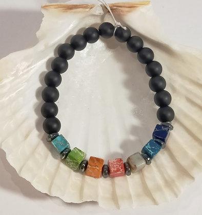 Agate noire, 7 chakras perles carré