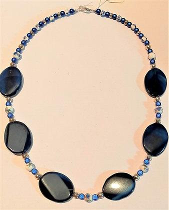 Collier pierres semi-précieuses agate ovale bleu/céramique/magiques/argenté