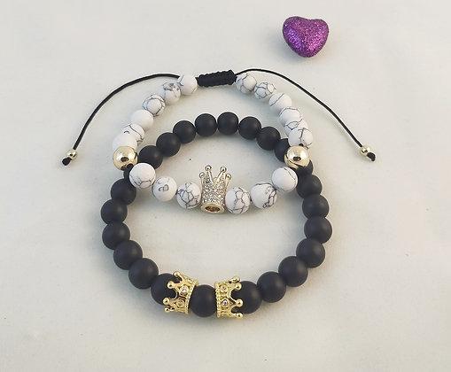 Bracelet couple couronne doré Howlite/agate noire