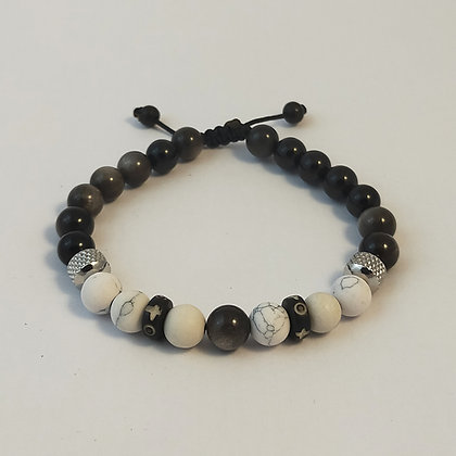 Bracelet ajustable howlite / obsidienne