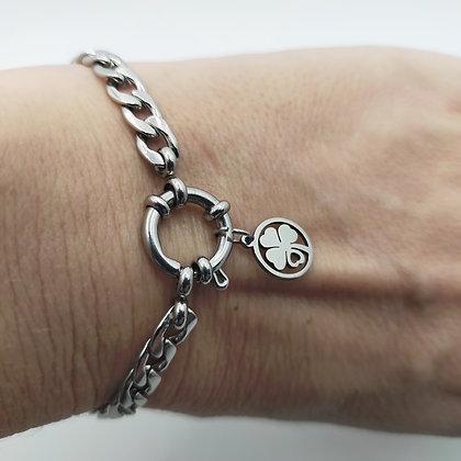 Bracelet grosse chaîne trèfle/argenté