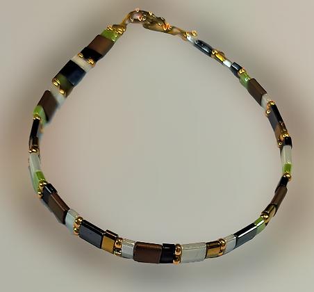 Bracelet hématite marron, noir, vert, doré