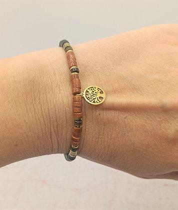 Bracelet heishi pierre de sable/noir arbre de vie doré