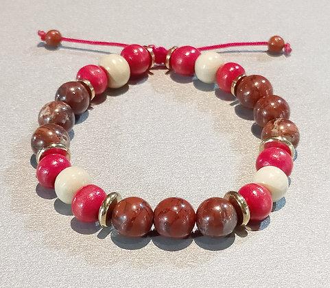 Perles en bois rouge/blanc + jaspe rouge + métal argenté, ajustable