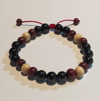 Perles en bois aubergine/blanc + obsidienne noire, ajustable