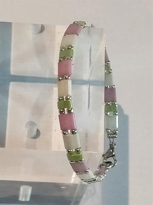 Bracelet duo argenté/vert/blanc/rose