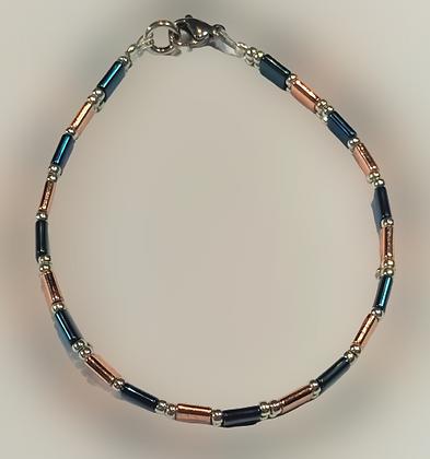 Bracelet hématite doré rose, bleu, argent