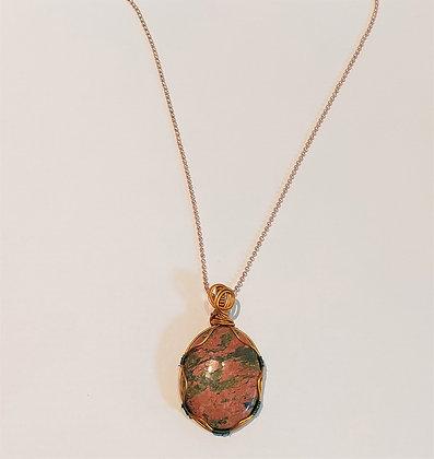 Collier/chaîne rosé pierre naturelle unakite