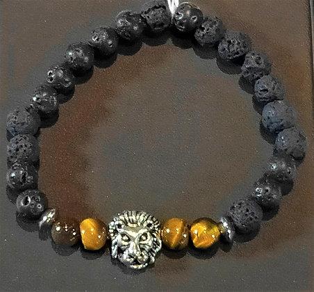 Bracelet enfant pierre de lave/œil de tigre lion