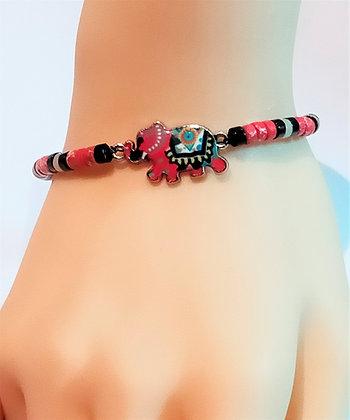 Bracelet P.N. Argenté/Rouge marbre œil porte bonheur