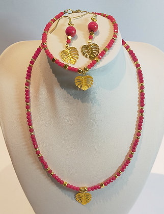 Parure 3pcs perles facettes doré/rouge
