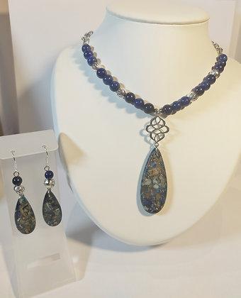 Parure bleu-argent lapis lazuli