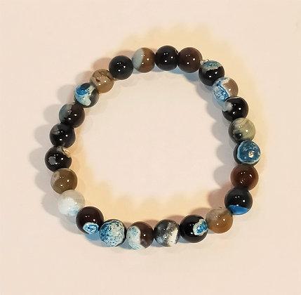 Bracelet agate bleu océan