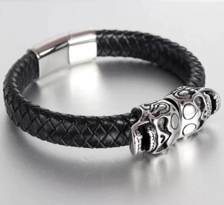 Bracelet en cuir véritable avec Double tête de mort