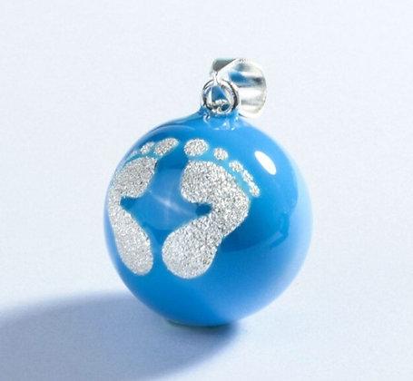 Bola de grossesse bleu pieds dorés