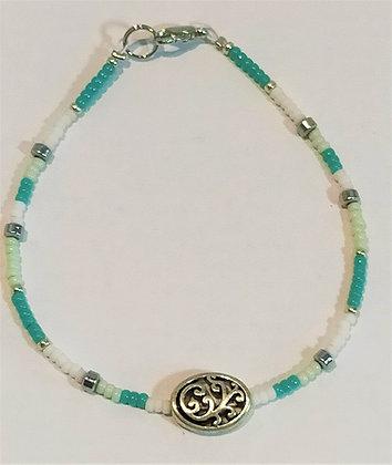 Bracelet turquoise/blanc