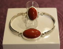 Bague et bracelet en pierre naturell