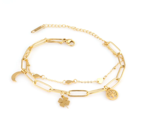 Bracelet double chaîne trèfle/arbre de vie/lune en acier inox doré