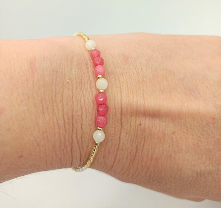 Bracelet jade rose/blanc doré