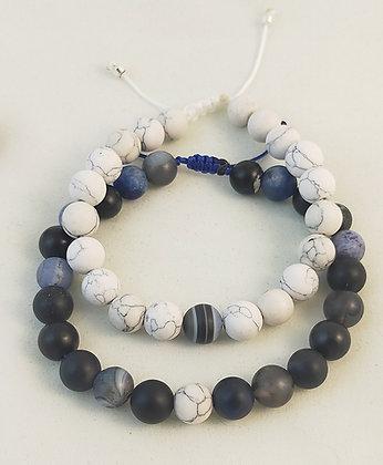 Bracelet couple agate bleu foncé multicolore/howlite