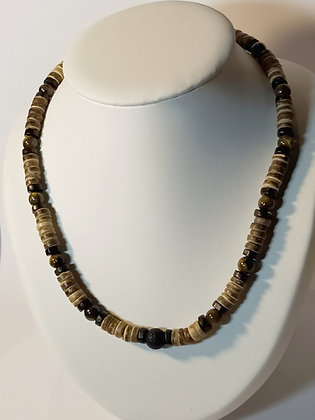 Collier Œil de tigre/pierre de lave/bois/perles de coco