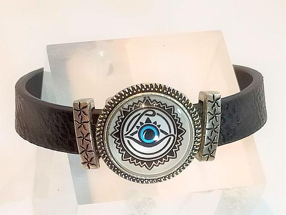 Bracelet cuir noir œil