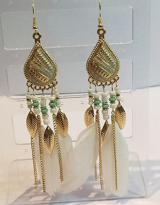 Boucles d'oreilles doré/plumes blanches/turquoise