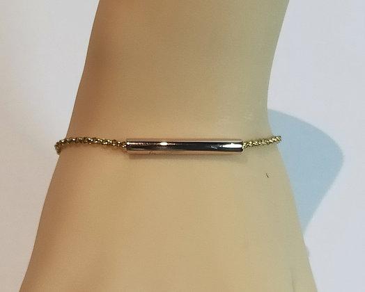 Bracelet doré/perle tube rosé