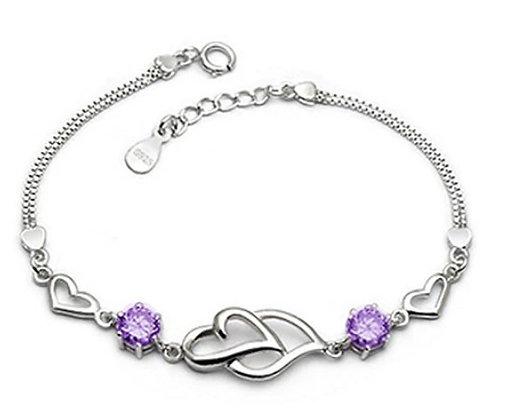 Bracelet en argent 2 cœurs zircon violet