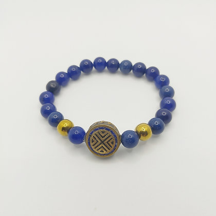 Bracelet lapis lazuli/hématite, perle tibétaine
