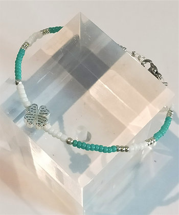 Bracelet turquoise/blanc trèfle