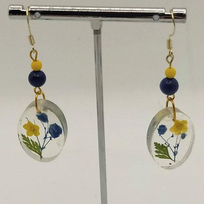 B.O. résine fleurs jaune/bleu, ovales #8