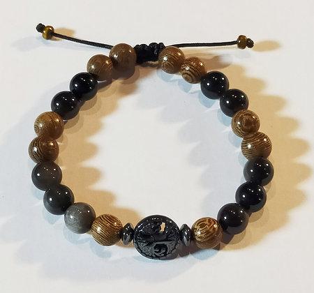 Perles en bois zébré, obsidienne, hématite, arbre de vie, ajustable