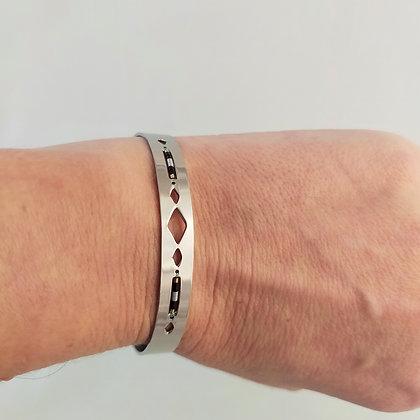 Bracelet ajustable acier inox/perles miyuki 1