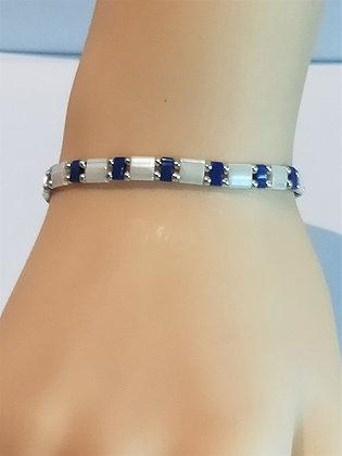 Bracelet duo argenté/bleu marine/blanc