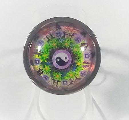 Bague réglable ronde ying yang