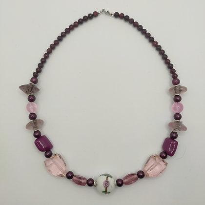 Collier violet/rose perles Murano