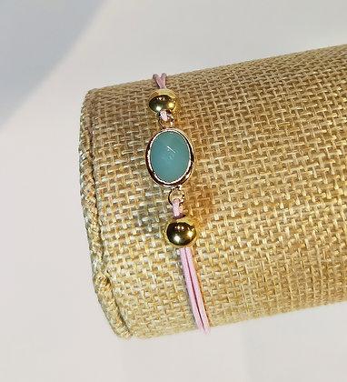 Bracelet élastique doré/bleu/rose