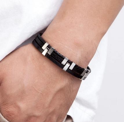 Bracelet tendance en cuir véritable noir 12