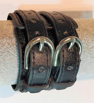 Bracelet cuir noir  réglable 2 lanières