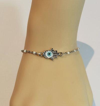 Bracelet argent/blanc main de Fatma