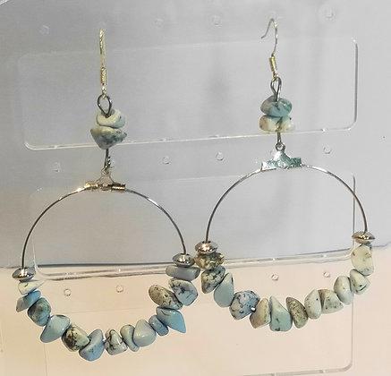 Boucles d'oreilles turquoise bleu