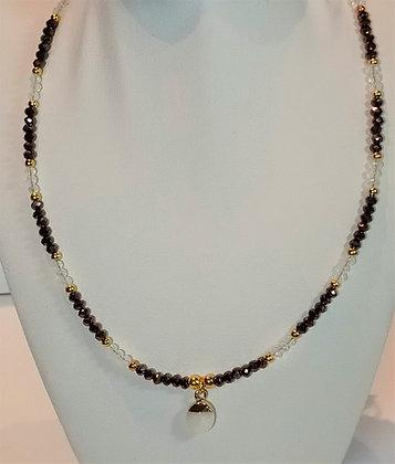 Tour de cou perles marron/blanc facettes quartz rose