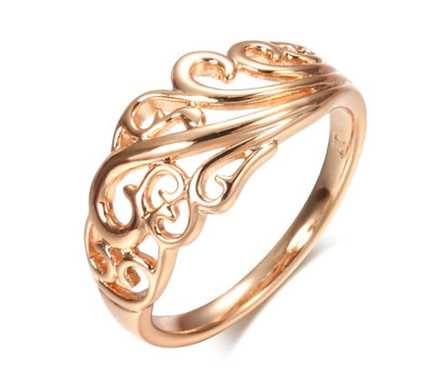 Bague en or Rose 585  creux de fleur style Boho